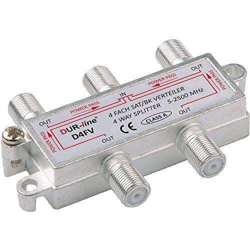 SAT & BK-Verteiler - 4-Fach Splitter - voll geschirmt - Unicable & HD tauglich [DUR-line D4FV - für Satelliten-Anlagen(DVB-S2) - BK - UKW Radio - DC-Durchlass - TV Antennen Fernseh Verteiler]