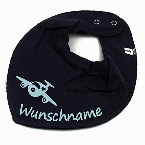 Elefantasie Elefantasie HALSTUCH Flugzeug mit Namen oder Text personalisiert dunkelblau für Baby oder Kind