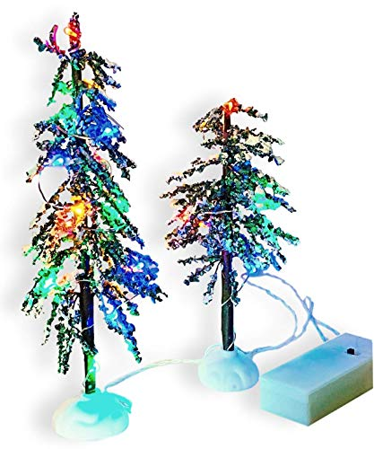 LED Christmas Decor Trees - Set of 2 LED Lighted Tabletop Xmas Tree Pair for Holiday Village House Display - Colorful Lights - Battery Operated (NOT Included)