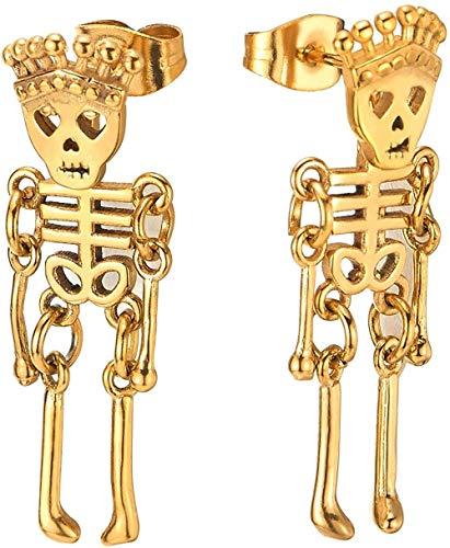 NC188 Hombres Mujeres Acero Inoxidable Corona Dorada Cráneo Esqueleto Hueso Pendientes de botón Pendientes Colgantes 2 Piezas (CA)