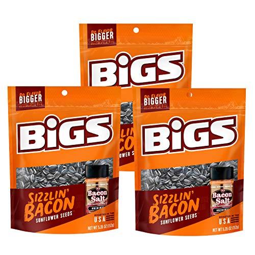 BIGS Sizzlin Bacon Salt Sunflower Seeds, 5.35-ounce (Pack of 3)
