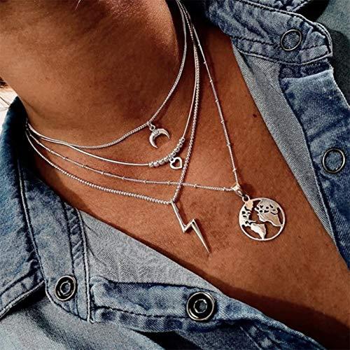 Collar con Colgante de Mapa de círculo de Luna de Moda Bohemia para Mujer Gargantilla de Tierra Collares de bisutería Multicapa, SK999