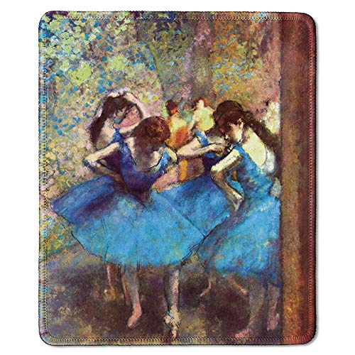 dealzEpic - Art Mousepad - Natural Rubber Mouse Pad with Famous Fine Art Painting of Dancers in Blue by Edgar Degas - Stitched Edges - 9.5x7.9 inches
