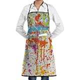 JESSA Blue Red Splash Artwork Delantales Babero Carpintería Encaje Ajustable Adulto Cocina Camarero Delantales con Bolsillos