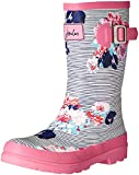 Joules Girls Printed Welly Rain Boot, Pool Blue Posy Stripe, 9 M US Toddler