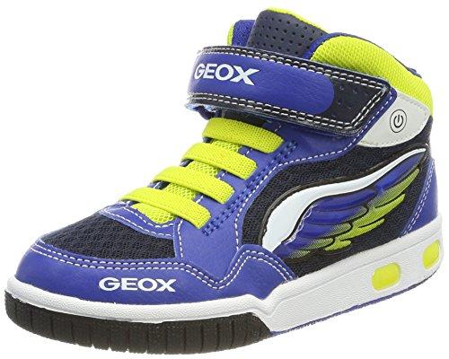 Geox Jungen JR Gregg A Hohe Sneaker, Blau (Royal/Lime), 37 EU