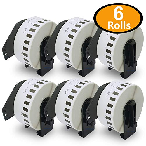 BETCKEY 6 Rolls Brother-Compatible DK-44205 Removable Continuous Labels Black on White 62mm x 30.48m With Refillable Cartridge