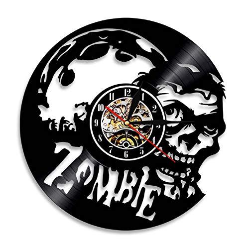 llvvv Zombie Reloj de Pared Horror Arte de Pared Zombie Vintage Disco de Vinilo Reloj de Pared Zombie Head Cerebro Halloween Decoración de la Pared