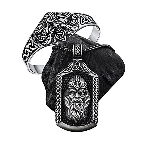 YCYR Vikingo Odin Amuleto Conjunto De Joyas, Mitología Nudo Celta Runa Escudo Colgante Collar, para Hombres De Acero Inoxidable De La Vendimia Ajustable Medio Brazalete Abierto