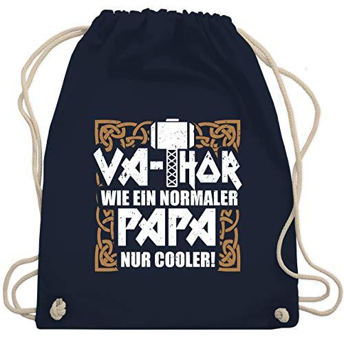 Shirtracer Vatertagsgeschenk - Va-Thor wie ein normaler Papa nur cooler! - weiß/braun - Unisize - Navy Blau - Fun - WM110 - Turnbeutel und Stoffbeutel aus Baumwolle