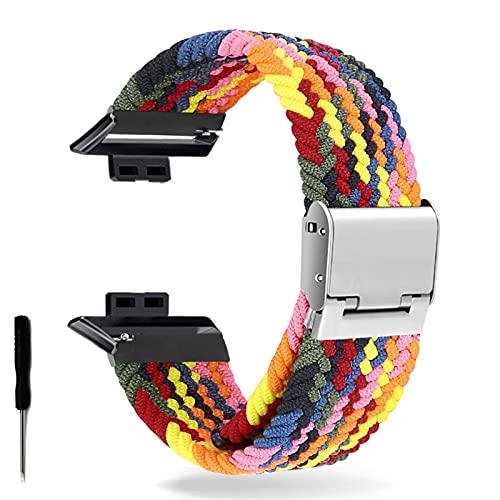 Correa de Reloj para Watch FIT Correa elástica Trenzada Ajustable Correa de muñeca Correa de liberación rápida (Band Color : Rainbow, Band Width : Hua Fit)