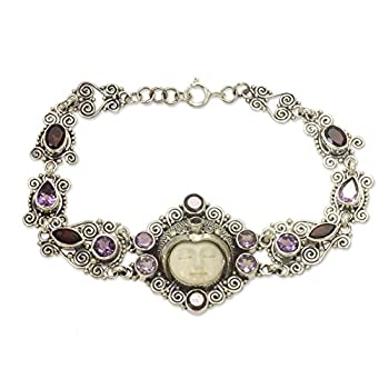 NOVICA Multi-Gem Amethyst .925 Sterling Silver Bone Link Bracelet 7.5   Sleeping Princess