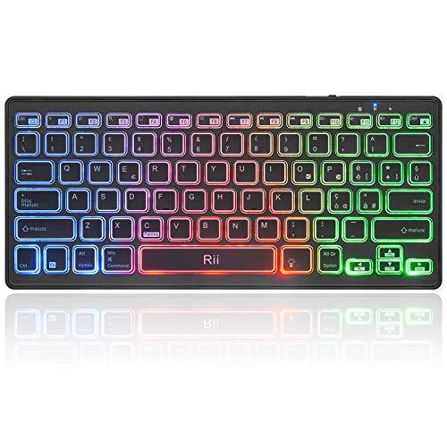 Rii K09 Bluetooth - Tastiera retroilluminata RGB (effetto arcobaleno), custodia inclusa, ricaricabile, compatibile con Windows, Mac, Android, iPad