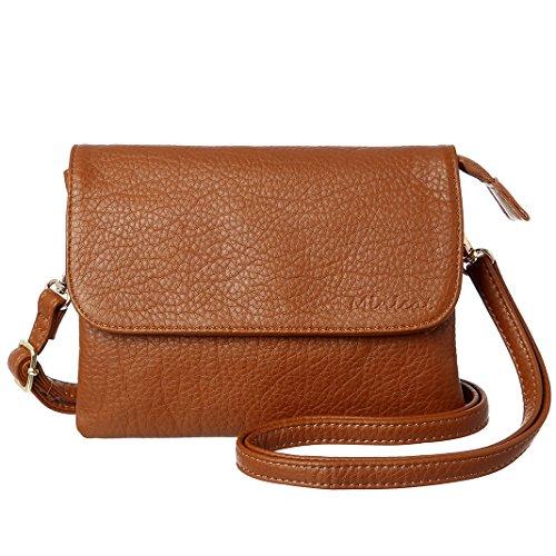 MINICAT INICAT Small Crossbody Purse Built in Wallet Crossbody Bags Pocketbooks for Women(Brown,Small)