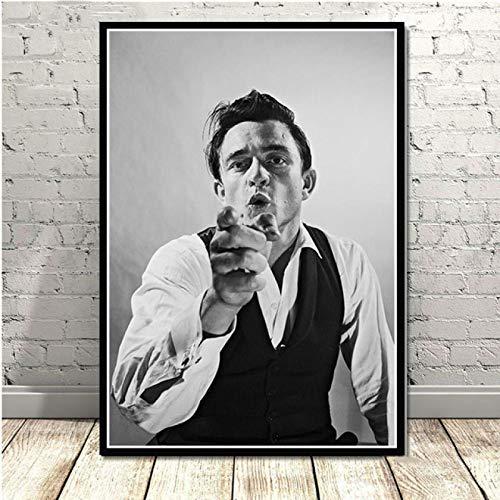 Weiteng Rock Music Band Star Johnny Cash Negro Blanco Retro HD Lienzo Póster Arte de la Pared Decoración del Dormitorio del hogar 50x70 cm (19.68x27.55 in) A-118