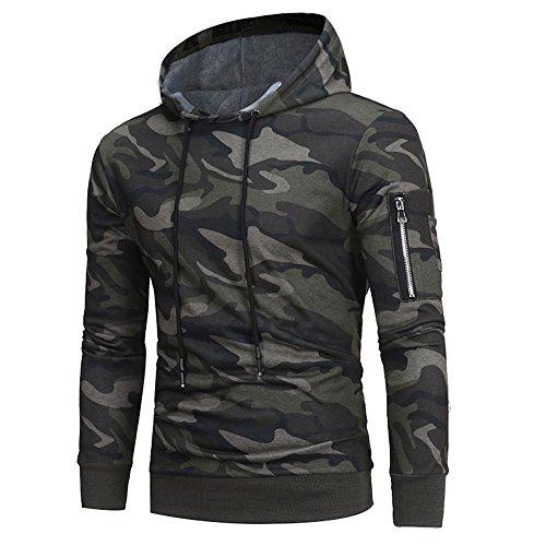 JINLILE Sweat à Capuche Longue Manche Camouflage pour Hommes Veste à Hiver Sweatshirts Blouson Pas Cher VêTements Top Chemise La Mode