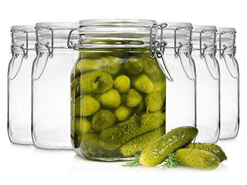 Bormioli Fido: lot de 6 bocaux hermétiques à bouchon mécaniqueConservation des aliments Joint caoutchouc et étrier Capacité 1l.