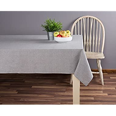 Sticky Toffee Cotton Tablecloth 60 in x 84 in, Gray Solid, Seats 6 to 8 People