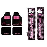 Hello Kitty Kit3013 Juego Alfombras Moqueta De Coche Talonera Dibujo De Minnie Mouse Disney Universales + Kit1034 Juego De 2 Almohadillas para Cinturón De Coche Rosas Universales