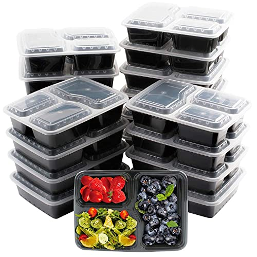 [20 Pack] 3 Compartment BPA Free Reusable Meal Prep Containers - Plastic Food Storage Trays with Airtight Lids - Microwavable, Freezer and Dishwasher Safe - Stackable Bento Lunch Boxes (34 oz)