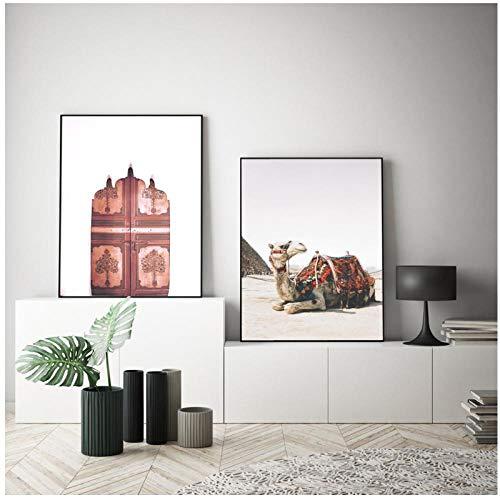 Muur Canvas Schilderij Marokko Deur Woestijn Kameel Safari Boho Nordic Posters En Prints Muur Foto 'S Voor Woonkamer Decor / 50x70cmx2pcs geen frame
