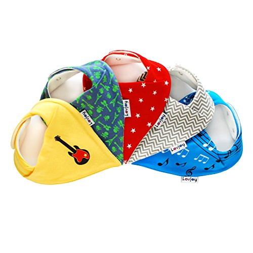Lovjoy Baberos del bebé - Paquete de 5 Diseños para niño