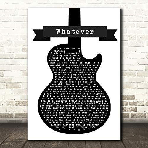 Wat zwart & wit gitaar lied Lyric Poster Wall Art Print Small A5