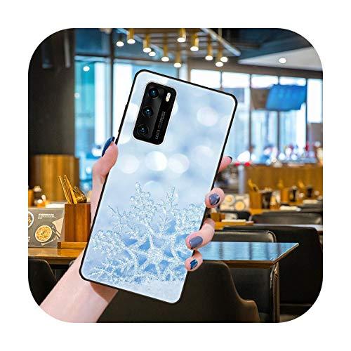 Funda para Huawei P40 P30 P10 P20 Lite P Smart Z Pro Negro Cubierta Coque Moda Impermeable Silicona Shell Lujo Snowflake-H1-Huawei P Smart Z