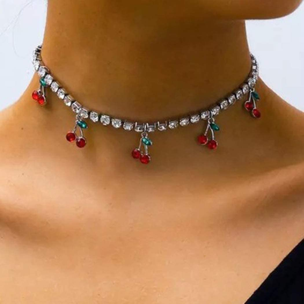 Graeen Cherry Necklaces Crystal Choker Necklace Gold Rhinestone Necklace with Cherry Pendant Jewelry for Women and Girls