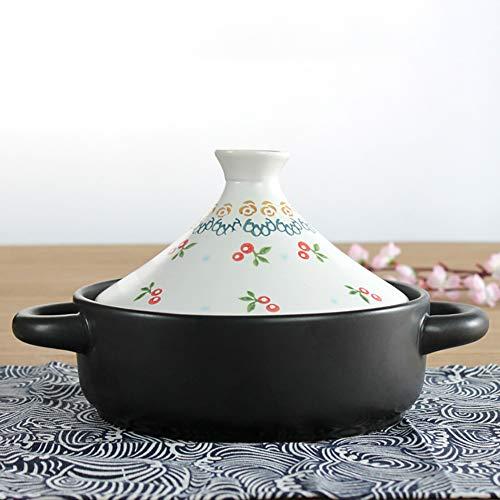 YB&GQ Tagine Pot,Moroccan Tajine with Cone-Shaped Lid,Japanese Style Casserole with 2 Handles,Cooking for Cooktop Or Oven White B 20x16cm(8x6inch)