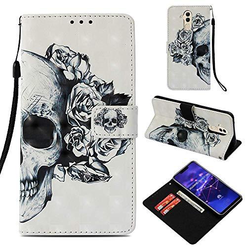CoverKingz Handyhülle für Huawei Mate 20 Lite - Handytasche mit Kartenfach Mate 20 Lite Cover - Handy Hülle klappbar Motiv Totenkopf