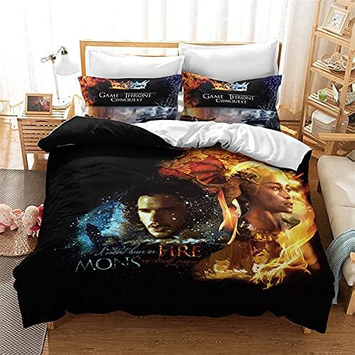Ga-me of THR-on-es, set di biancheria da letto in microfibra, prodotti estivi, regali per adolescenti, regali per uomini (game2,220 x 240 cm + 50 x 75 cm x 2)