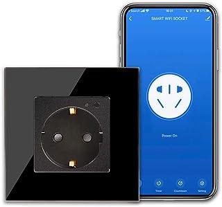 CNBINGO Smart stopcontact compatibel met Alexa/Google Home/IFTTT-apparaat, 16 ampère Single WiFi/wifi-aansluiting met scha...
