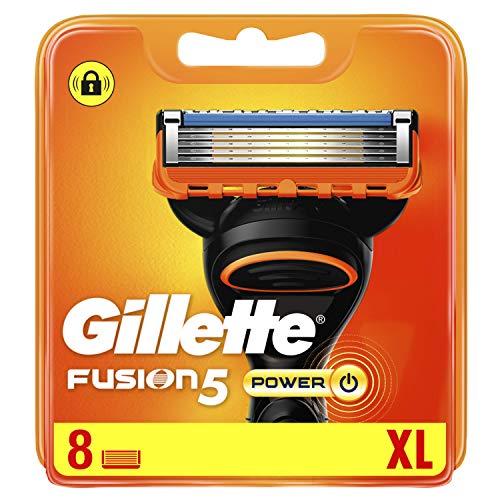 Gillette Lames de Rasoir Homme Fusion5 Power, Pack de 8 Lames de Recharges [OFFICIEL]