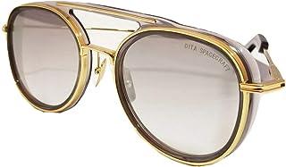 DITA - Spacecraft 19017 Gafas de sol para hombres y mujeres en marco cepillado redondo dorado y lente dorado