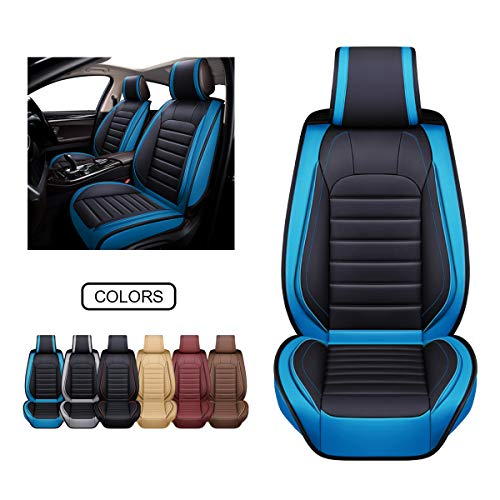 OASIS AUTO Leather Car Seat Covers, Faux Leatherette Automotive Vehicle Cushion Cover for Cars SUV Pick-up Truck Universal Fit Set for Auto Interior Accessories (OS-012 Front Pair, Blue)