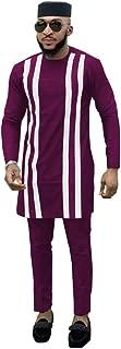 Mens 3 Piece Set Dashiki Clothing Print Tops+Ankara Pants+Hat Tribal Men`s Traditional Outfits