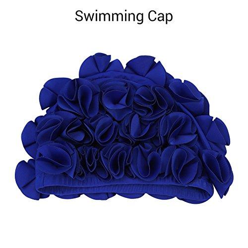 Womens Swim Cap, Floral Swim Cap für Frauen, Vintage-Stil, Schwimmen/Baden, hübsche Retro-Badekappe(Blue)