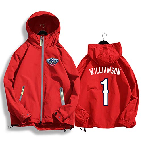 Williamson # 1 Pelícanos - Chaqueta de baloncesto con capucha para aficionados