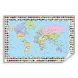 Postereck - 0609 - Politische Weltkarte, Flaggen Länder