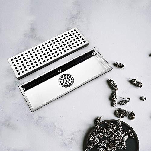 DYR Duschrinnen aus Stahl für Deodorant-Bodenabläufe mit Flieseneinsatz Abgebürstetes Abdeckgitter, Schwerkraftdichtung