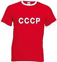 Printmeashirt A Medida para Hombre Personalizable CCCP Soviética Camiseta de fútbol