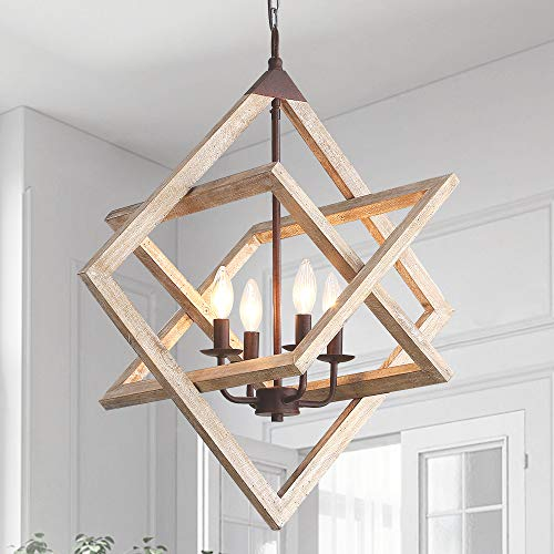 WoodenChandelier Ceiling Pendant Light 4 Candle Holder...