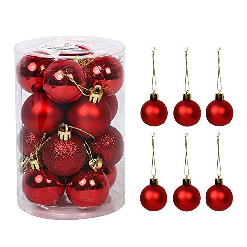 lzndeal Decorazioni Albero di Natale, Palline di Natale, 16pcs 4cm Set di Palline di Natale Infrangibili Opache E Lucide per Decorazioni per Alberi di Natale Perfect Hanging Ball Rosso #05