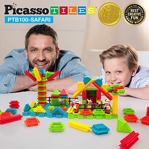 PicassoTiles PTB100 100pcs Bristle Lock 3D Building Blocks Tiles Safari Theme Set Learning Playset STEM Toy Set Educational Kit Child Brain Development Preschool Kindergarten Toy for Age 3 & Up
