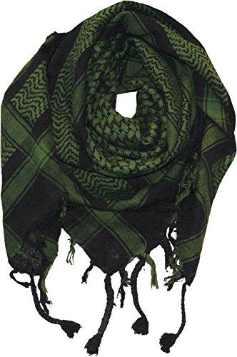 Harrys-Collection PLO Tuch in 20 Farben 100% Baumwolle dick, Schwarz mit Grün, Einheitsgröße