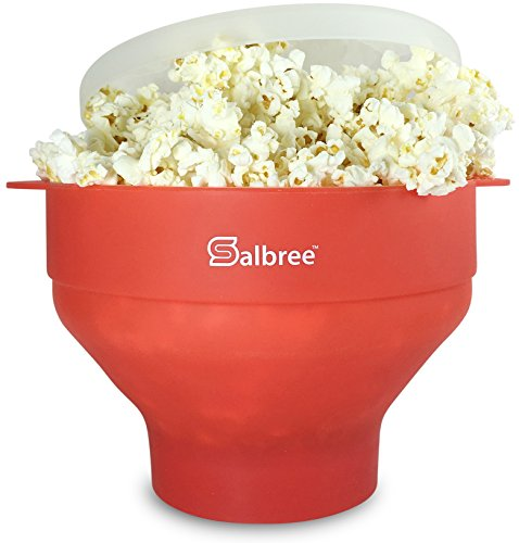 Original Salbree Microwave Popcorn Popper, Silicone Popcorn Maker, Collapsible Bowl - The Most Colors Available (Red)