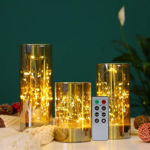 JHY DESIGN Fairy String Lights Table Lamp Battery 8Key Remote Control Glass Candle Battery Powered Lantern for Table Outdoor Indoor Party Wedding Birthday Home Living Room(Champagne, 15/20/25cm)