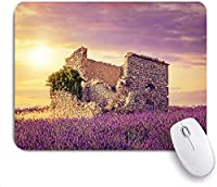 Mabby マウスマット ゲーミング オフィス マウス パッド,Lavender Flourishing Spring Field and Damaged Old Historical Ruins View at Sunset,Non-Slip Rubber Base Mousepad for Laptop Computer PC Office