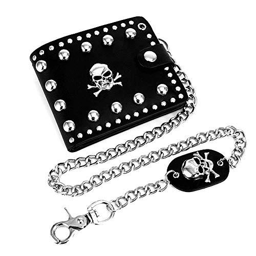 ASEOK Cuero Cool Punk Gothic Western Skull Biker Embrague Monedero Carteras Con Cadena Para Hombres Biker billetera con Cadena de Metal Desmontable